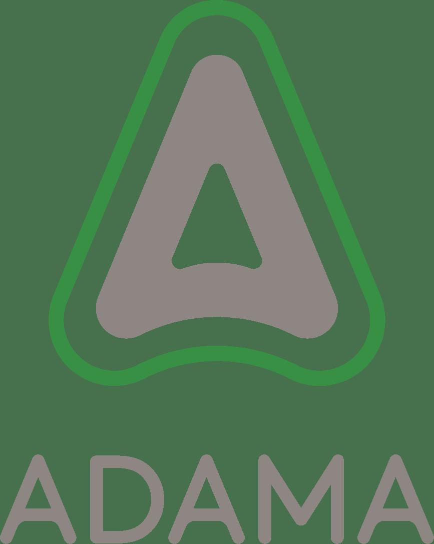 Adama Lockup Green Grey Portrait rgb